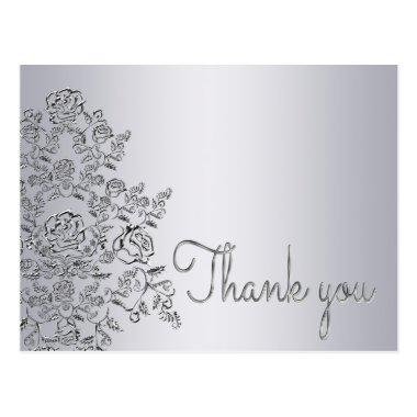 Damask decorated silver Thank You Invitations PostInvitations