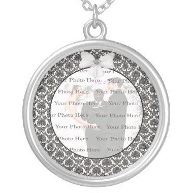 Damask Elegance Wedding Silver Round Necklace