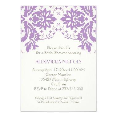 Damask lavender, grey, ivory wedding bridal shower Invitations