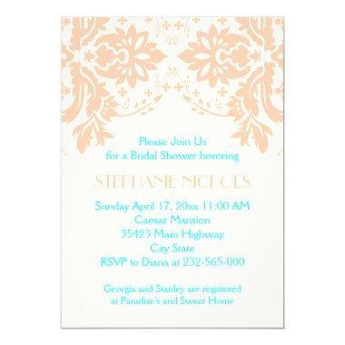Damask peach, aqua, ivory wedding