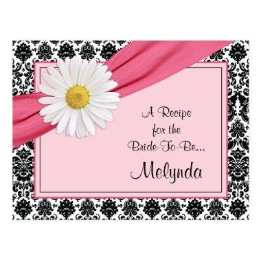 Damask Pink Daisy Recipe Invitations for the Bride