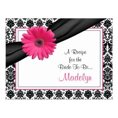 Damask Pink Gerber Daisy Recipe Invitations for the Bride