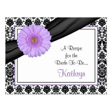 Damask Purple Gerber Recipe Invitations for the Bride