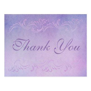 Damask purple wedding Thank You Invitations PostInvitations