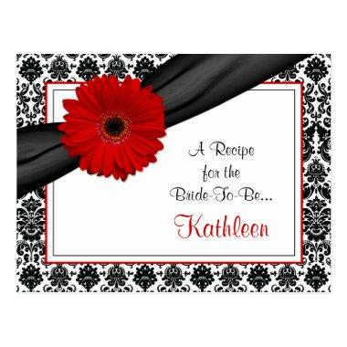 Damask Red Gerber Daisy Recipe Invitations for the Bride