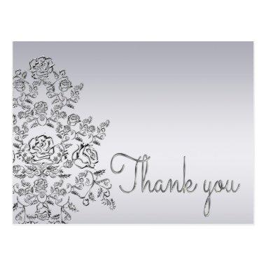 Damask wedding silver Thank You Invitations PostInvitations