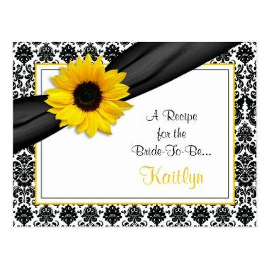 Damask Yellow Sunflower Recipe Invitations for the Bride