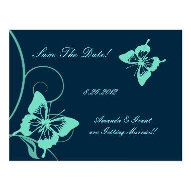 Dark Blue and Teal Butterfly Save The Date Post