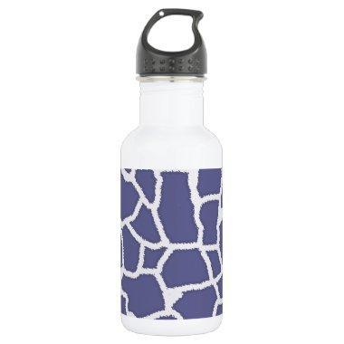 Dark Blue-Gray Giraffe Animal Print Water Bottle