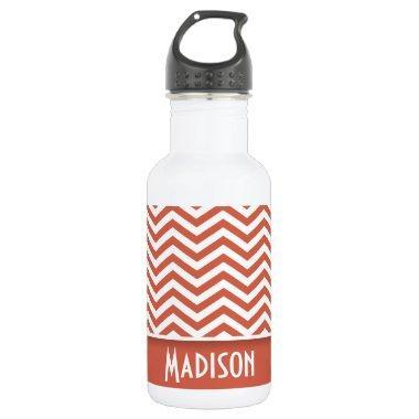 Dark Coral Chevron; Personalized Water Bottle