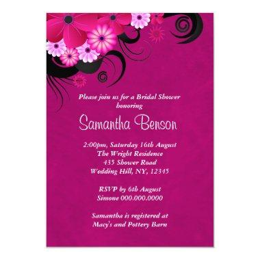 Dark Fuchsia Floral Wedding  Invites