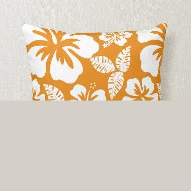 Dark Orange Tropical Hibiscus Throw Pillow