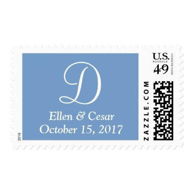 Dark Pastel Blue Personalized Letter Wedding Postage