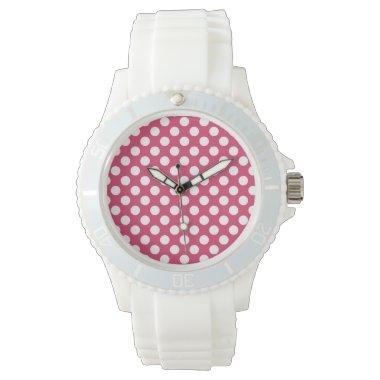 Dark Pink Polka Dots Wristwatch