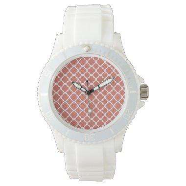 Dark Salmon Quatrefoil Wristwatch