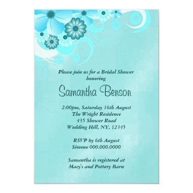 Dark Teal Blue Floral  Invites