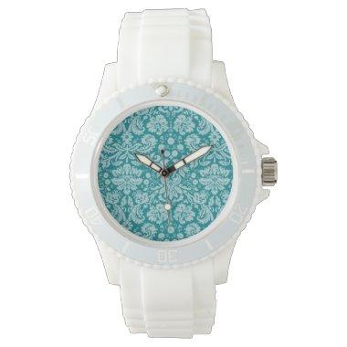 Dark Turquoise Damask Watch