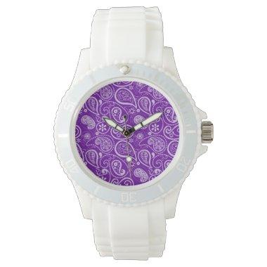 Dark Violet Paisley Wrist Watch