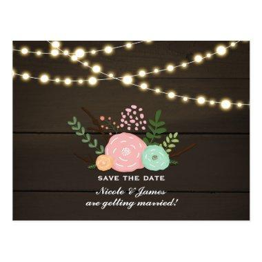 Dark Wood & Rustic Floral & Lights Save The Date Post