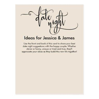 Date Night Ideas Elegant Cream Advice Card