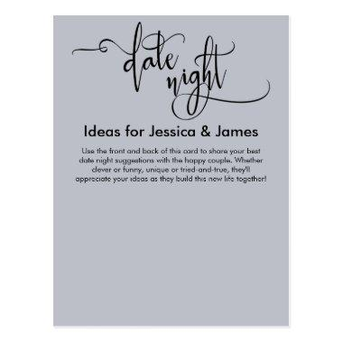 Date Night Ideas Elegant Dusty Blue Advice Card
