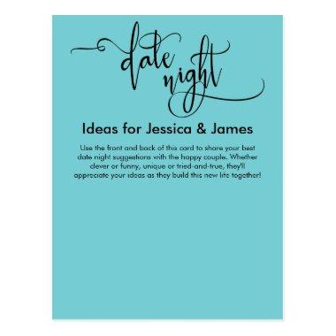 Date Night Ideas Turquoise Advice Card