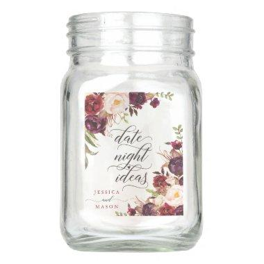 Date Night Jar - Burgundy Marsala - Bridal Shower