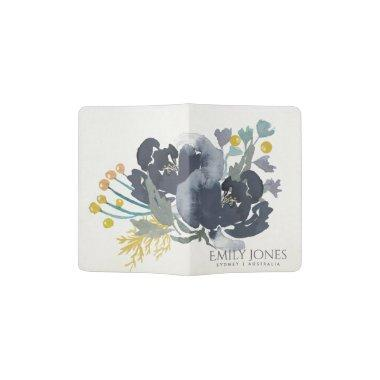 DEEP BLUE BLACK YELLOW WATERCOLOUR FLORAL MONOGRAM PASSPORT HOLDER