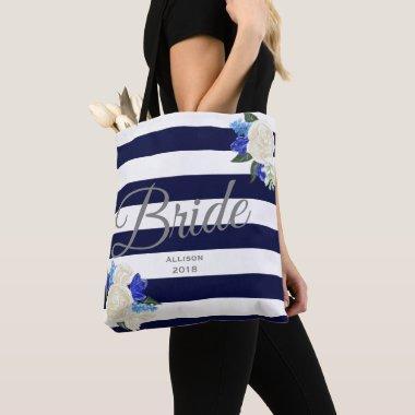 Deep Blue Floral Bride Tote Bag