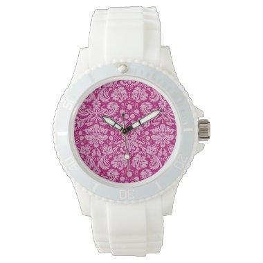 Deep Cerise Damask Wrist Watch