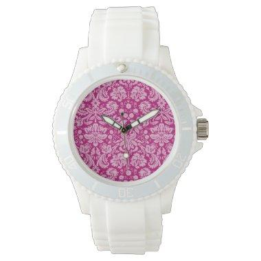 Deep Cerise Damask Wristwatch