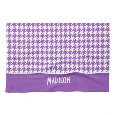 Deep Lilac Houndstooth; Personalized Kitchen Towel