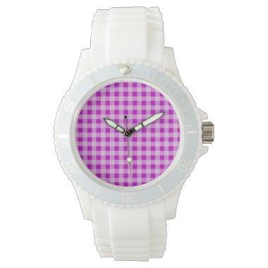 Deep Magenta Gingham Wrist Watch