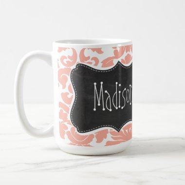 Deep Peach Damask; Vintage Chalkboard Coffee Mug