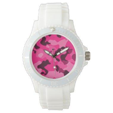 Deep Pink Camo; Camouflage Wrist Watch