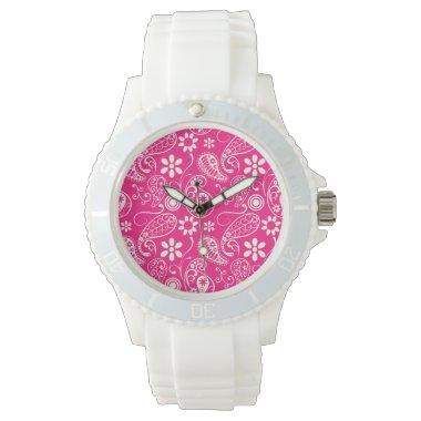 Deep Pink Paisley Wrist Watches