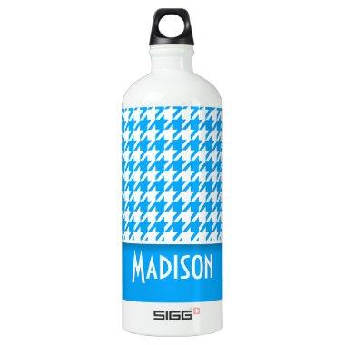 Deep Sky Blue Houndstooth; Personalized Aluminum Water Bottle