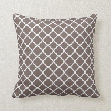 Deep Taupe Quatrefoil Throw Pillow