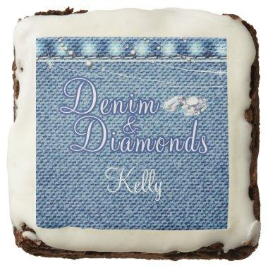 Denim and Diamonds Party, Custom Printed Edibles Brownie