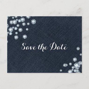Denim & Diamonds Glam Party Save the Date Announcement PostInvitations