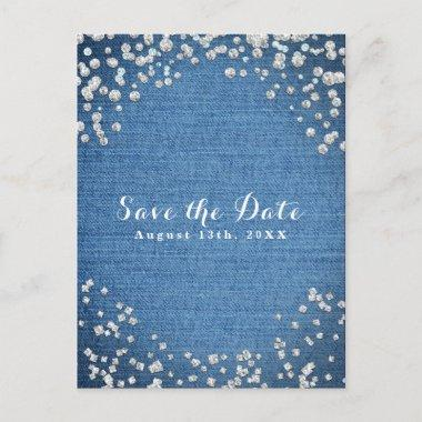 Denim & Diamonds Scattered Bling Save the Date Announcement PostInvitations