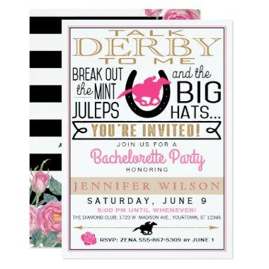 Derby Bachelorette Black/Gold/Pink Roses Custom