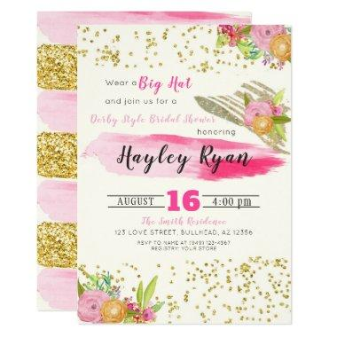 Derby Style Big Hat Bridal Shower Invitations