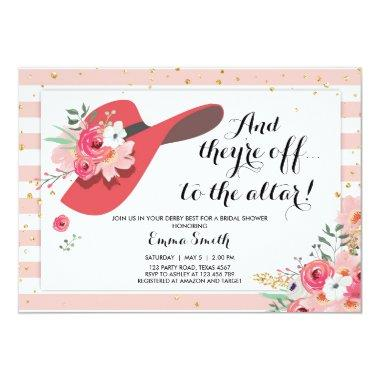 Derby Wear a Hat Horse Rose Gold Bridal Shower Invitations