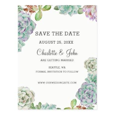 Desert Cactus Succulents save the dates Post