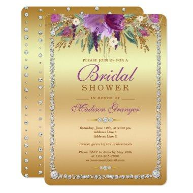 Diamond Glitter Watercolor Flowers Bridal Shower Invitations