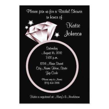 Diamond Ring Bridal Shower Invitations black white