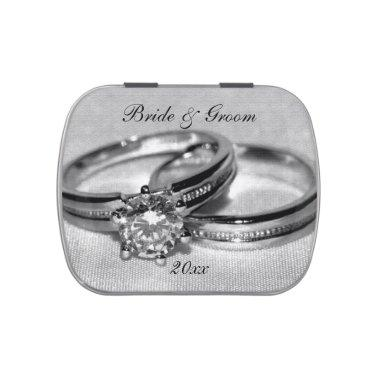 Diamond Wedding Ring Set Party Favors Candy Tin