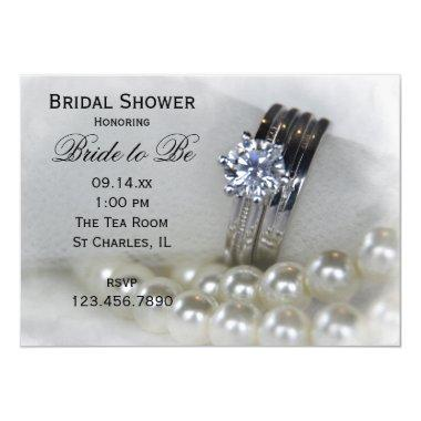 Diamond Wedding Rings and Pearls Bridal Shower Invitations