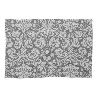 Dim Gray Damask Hand Towel